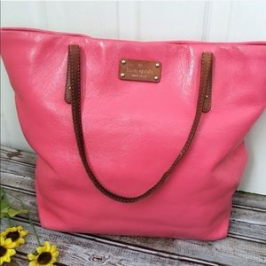 Kate Spade Large Hot Pink Leather Tote Bag